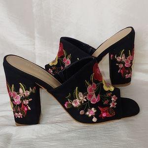 Floral Suede Slide on Heels